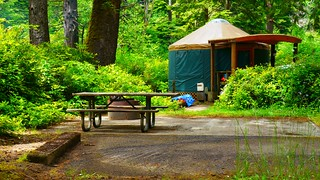 Camping in a Yurt at Beverly Beach State Park   by Rick Obst