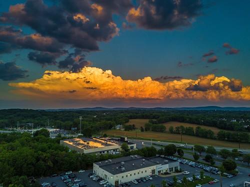 building tree beauty landscape industrial fluffy above sky weather clouds aerial drone mavic bethlehem pennsylvania unitedstates us