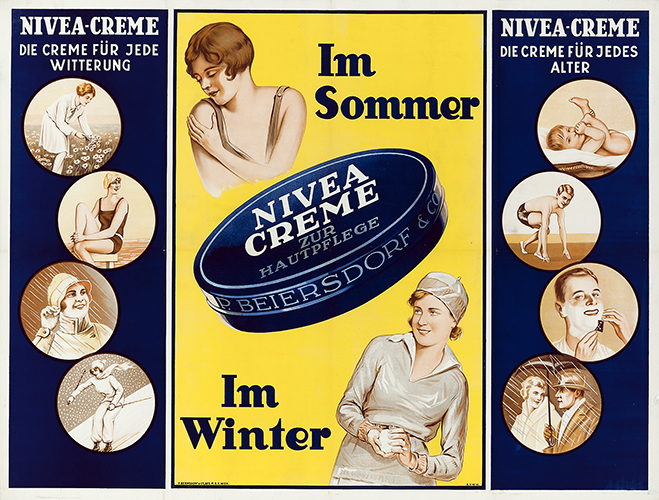 Nivea Cream for skin care - The cream for any weather - In summer - In winter - The cream for all ages (1933)