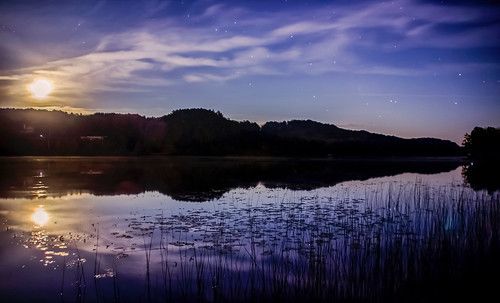 moon light moonlight full water lake river calm still stars night dark low trees nature silhouette reflections blue rural ellsworth michigan sea land landscape seascape shore canon tamron t3i eos dslr golden bright natur breezeway horizon rise lilypad reeds cloud clouds
