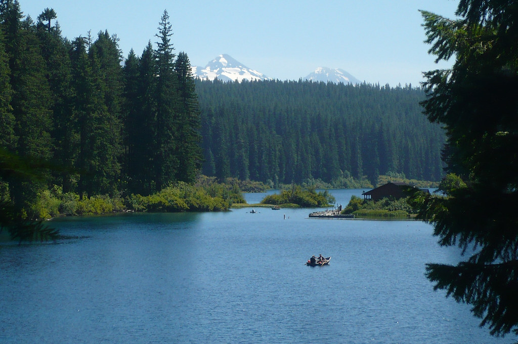 Middle and South Sister from Clear Lake, Willamette Nation