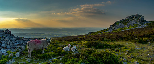 sunlight sun clouds d750 landscape sunset stiperstones britain hills mountains sky shropshire panorama green uk rocks england unitedkingdom gb