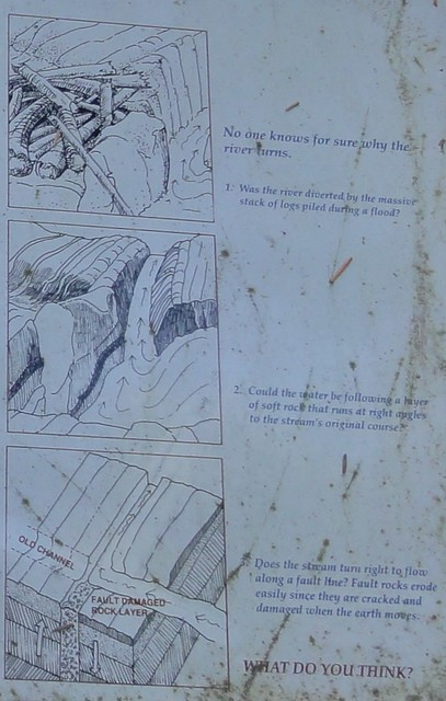 Detail of an informational sign showing three drawings with wording: the first speculates that a log jam forced the river to alter its course, the second postulates a layer of soft rock the river carged through, and the third illustrates the possibility of the river following a new fault.