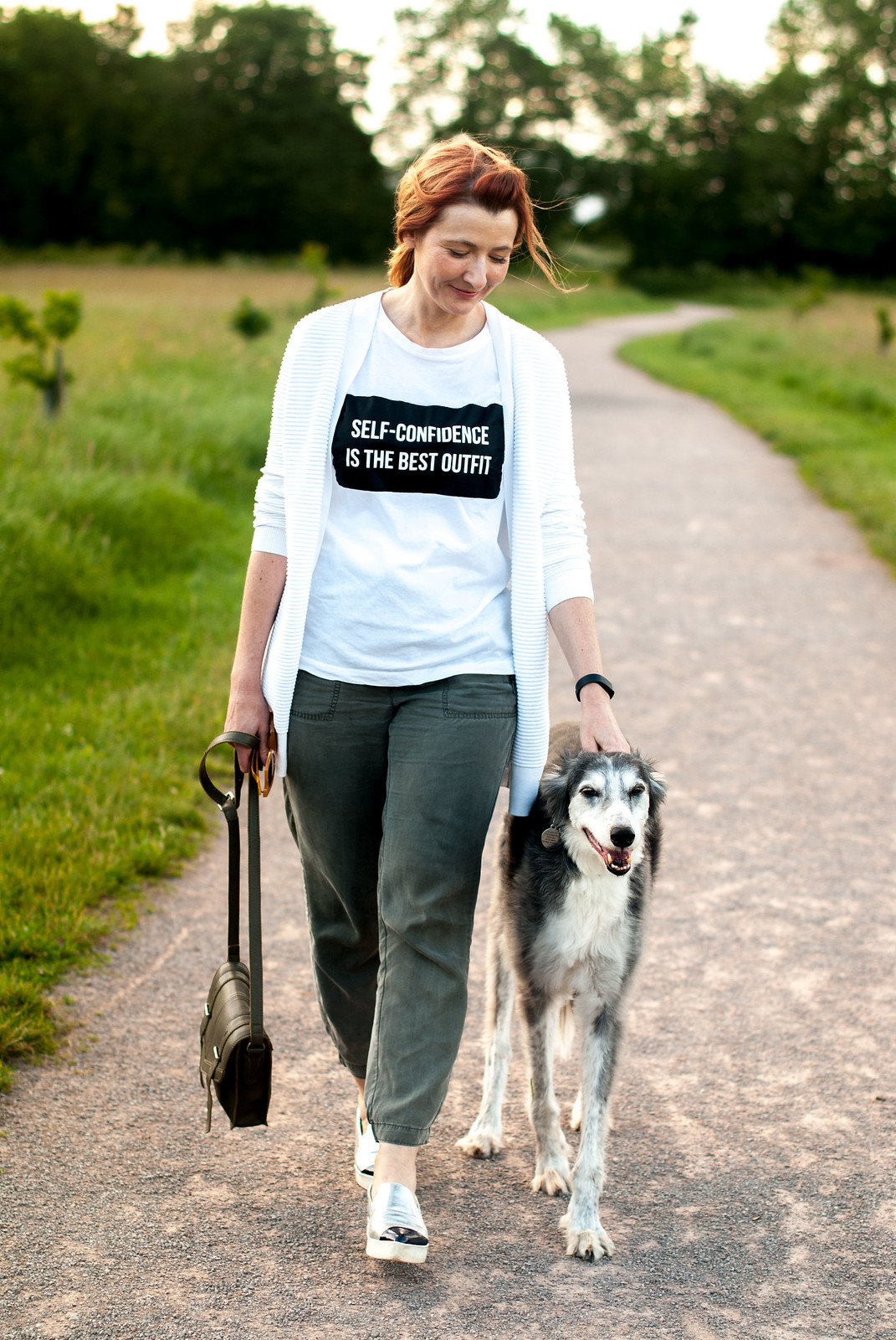 Super casual walking the dog outfit: Self-confidence is the best outfit t-shirt, khaki joggers, silver slip on shoes | Not Dressed As Lamb, over 40 style