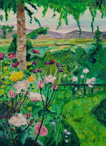 painting landscape flowers casein garden trees