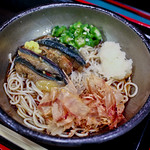 Buckwheat soba noodles with eggplant and okra toppings