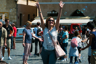 Deya with Bubbles in Old Town Square Prague   by nan palmero