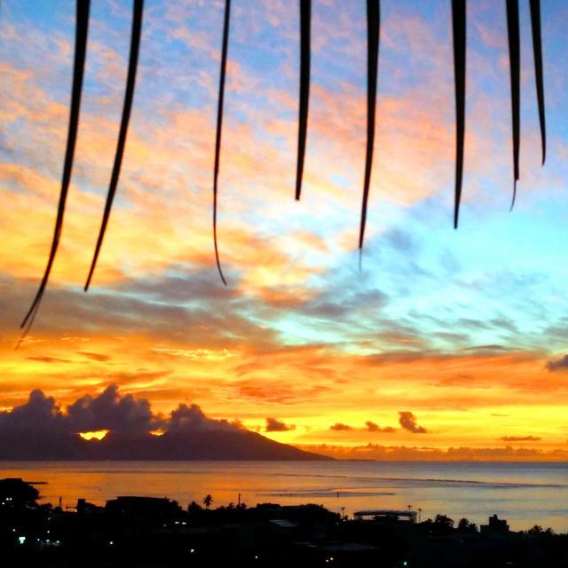 Sunset orangé à Papeete, Tahiti