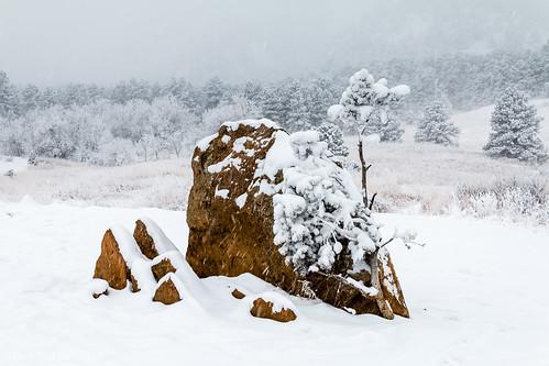 chautauquapark boulder flatirons colorado snow snowstorm winter landscape