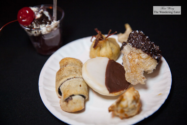 Jewish deli inspired desserts from Quality Meats area - chocolate dipped and salted pork rind, Black & white cookie, coconut macaroon, candied orange blood sausage rugelach,potato knish, pastrami jus jelly