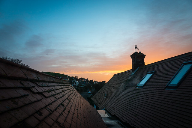 Across the rooftops at dawn