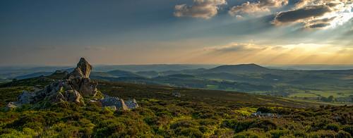 rocks sun stiperstones d750 landscape britain sunset green sunlight mountains sky shropshire hills panorama uk clouds england unitedkingdom gb