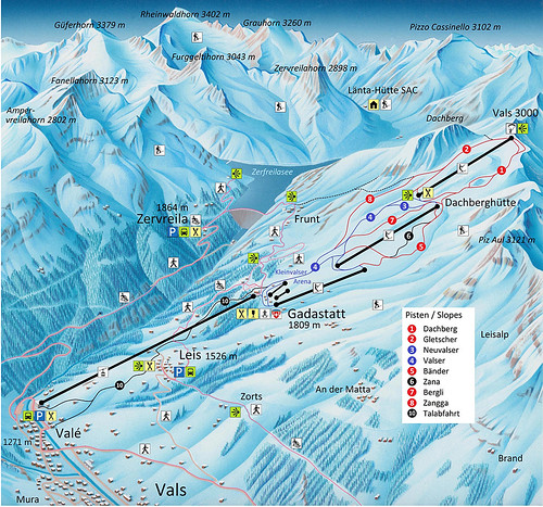 Vals 3000 - mapa sjezdovek