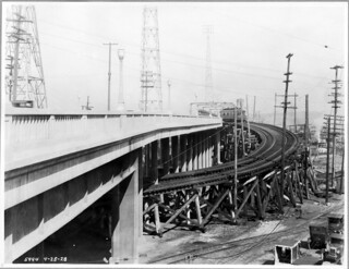 Streetcar on  Spokane Street bascule bridge, 1928