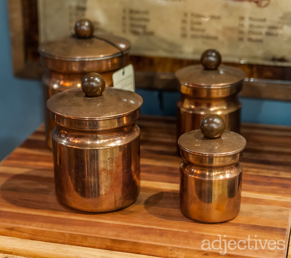 4 piece vintage copper canister set by 510 Decor at Adjectives Altamonte