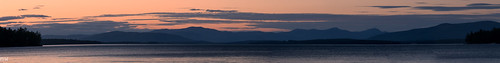lakewinnipesaukee lake mountains sunset clouds red blue landscape panorama 70200mm pano