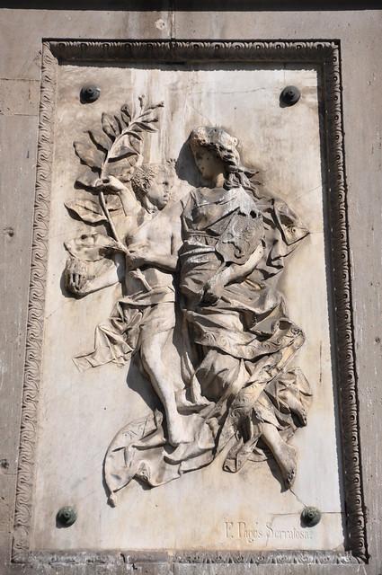 """Barcelona. Allegory of the """"Compañía General de Tabacos de Filipinas"""". Relief on the Monument to Antonio López y López. 1884. Francesc Pagès i Serratosa, sculptor"""