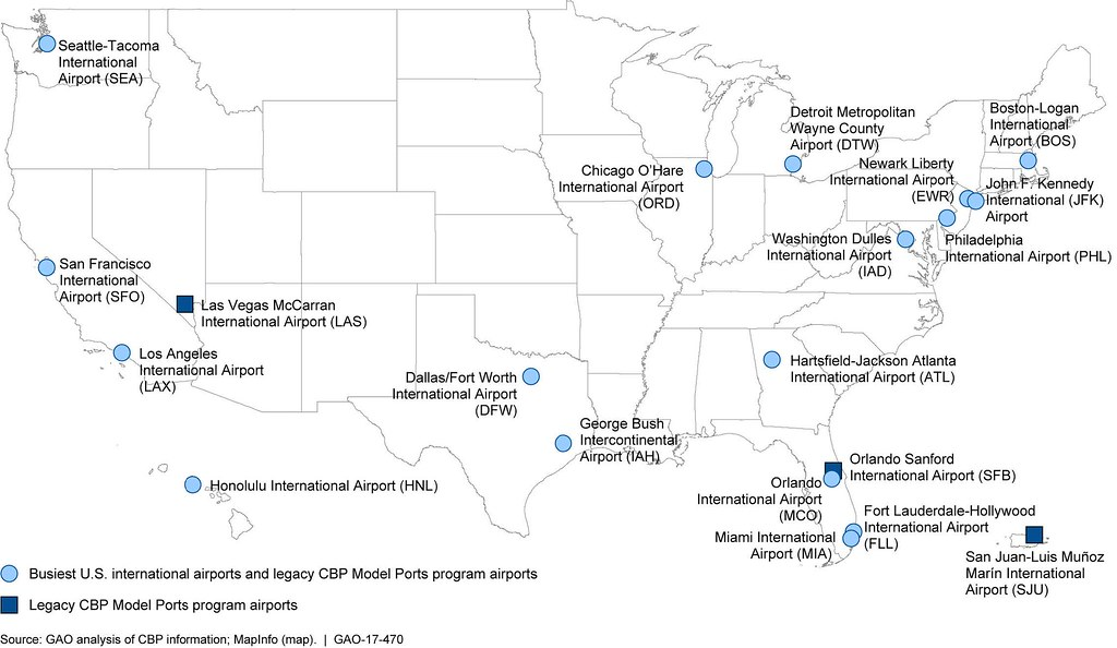 Figure 2 Map Of The 17 Busiest Us International Airport Flickr - Us-major-airports-map