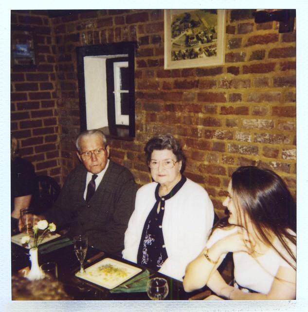 Scanned Polaroid - Jim, Elsie & Lisa - Robin Hood and Little John, Tonwell - 1990s