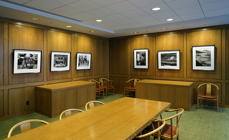 Judge's Dining Room - Ansel Adams Photographs (right) • Dorothea Lange (Left panel #2,3), Amelia Earhart (far right)