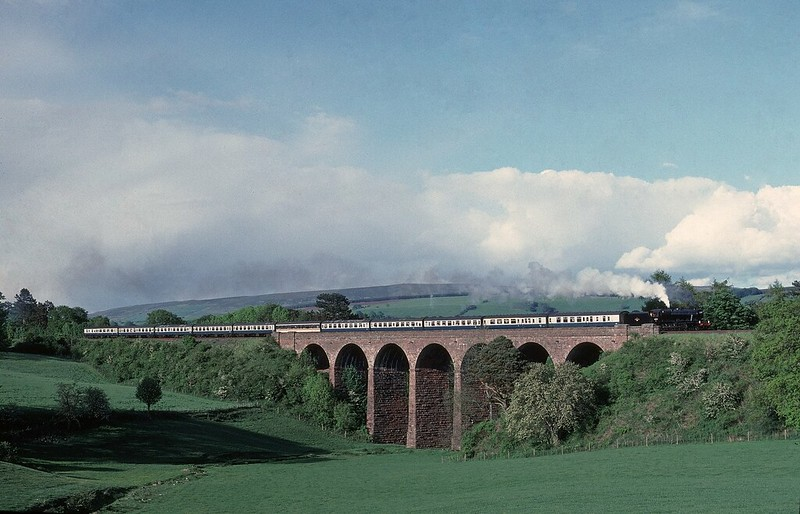 One of the most attractive viaducts on the Settle and Carlisle,now more difficult to photograph.48151 heads south on 1/6/89 Copyright David Price No unauthorised use please