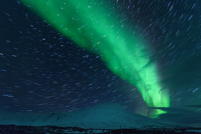 Star Trails and Aurora Borealis in Western Iceland