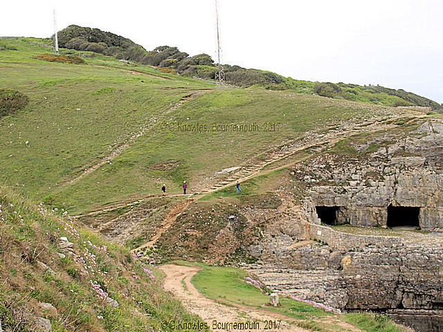 Tilly Whim Caves, were lime stone quarries in the 18th. Century, set in the cliffs of Durlston Country Park, they were closed in 1976 due to rock falls, Swanage, Isle of Purbeck, Dorset, England.