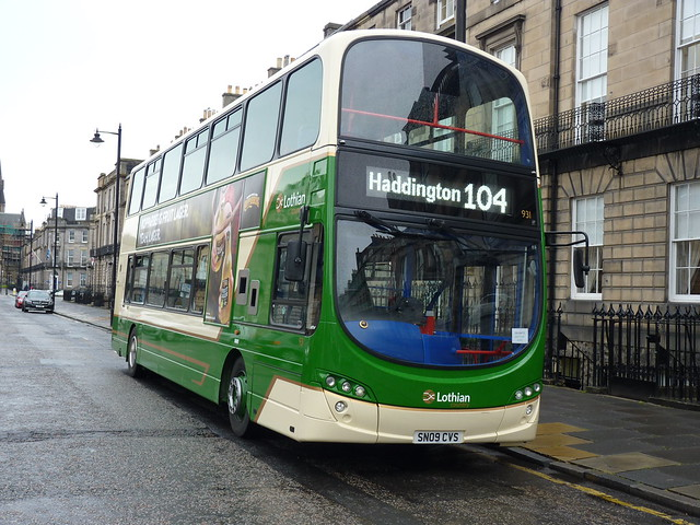Lothian Country Buses Volvo B9TL Wright Eclipse Gemini 2 SN09CVS 931, formerly Lothian 931, on hire to East Coast Buses operating service 104 to Haddington at the Melville Street, Edinburgh, terminus on 22 May 2017.