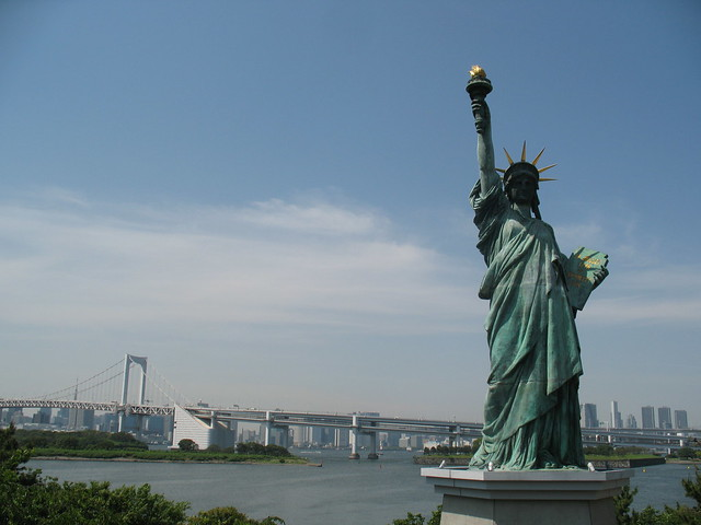 The Statue of Liberty in Odaiba Seaside Park , Tokyo