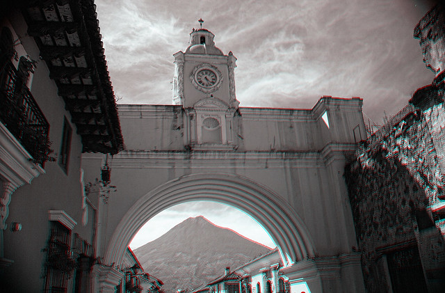 La Antigua GCA - Santa Catalina Arch Anaglyph 3d