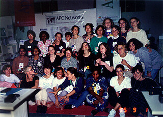 APC_Forty women at the Beijing tent, 1995