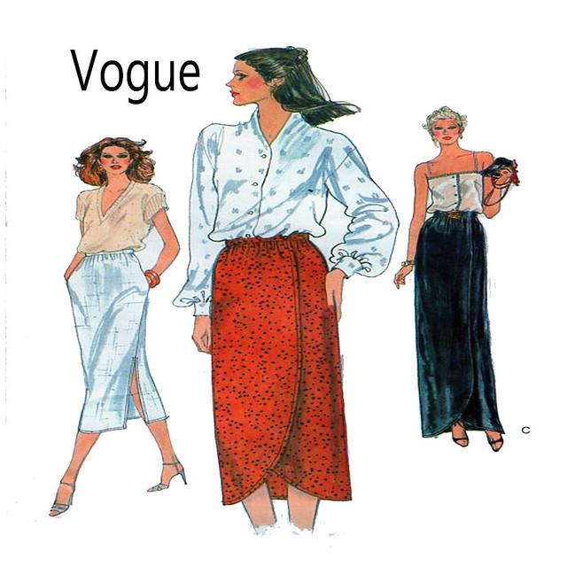Vogue 7305 mock wrap maxi skirt