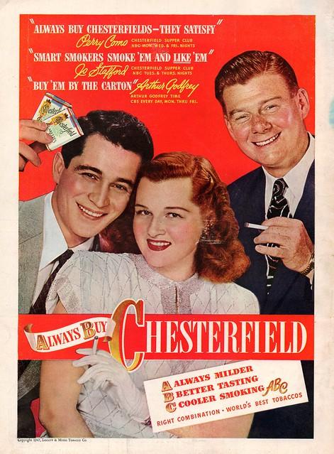 Chesterfield Cigarette Ad, Nov. 1947