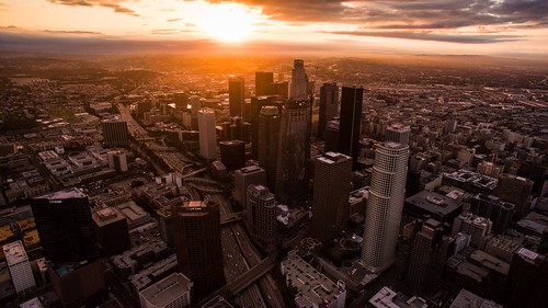 aerialphotography phantom3pro phantom dji drone mountains losangeles la dtla sunrise