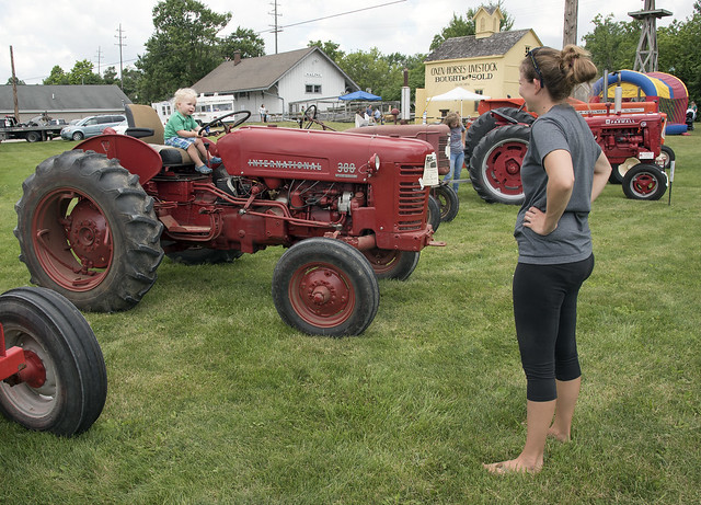 Mother, Son & IH tractor