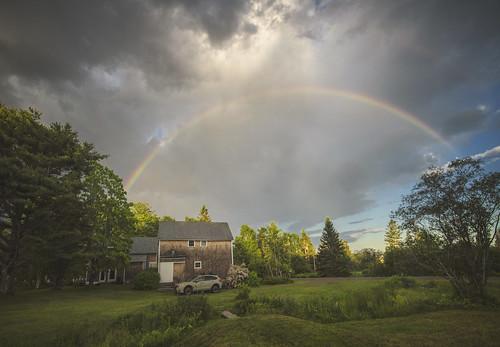 rainbow storm rain sky afternoon maine tenantsharbor me stgeorge oldwoodsfarm summer farmhouse barn field grass