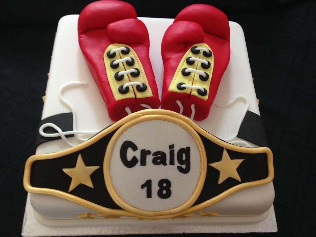 Brilliant Boxing Gloves And Belt Birthday Cake 10 Inch Boxing Glove Flickr Birthday Cards Printable Inklcafe Filternl