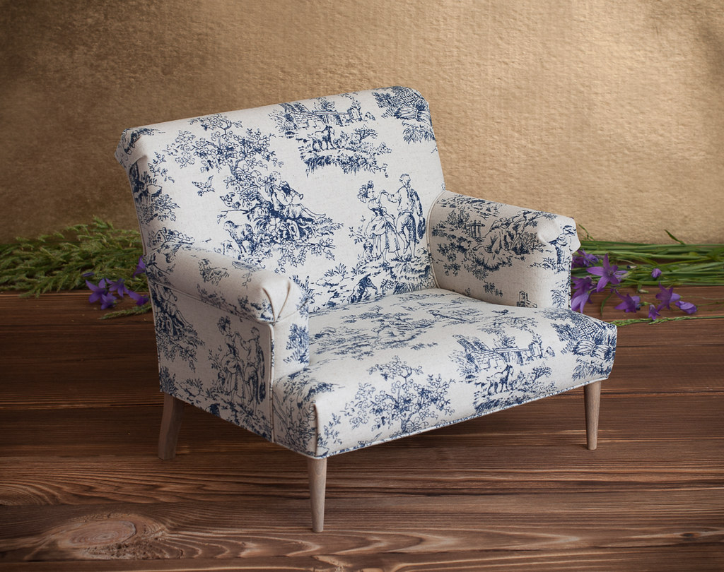 Phenomenal 1 4 Scale Doll Loveseat With Toile Fabric Upholstery Rust Caraccident5 Cool Chair Designs And Ideas Caraccident5Info