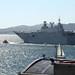 """El portaaeronaves """"Juan Carlos I"""" L-61 zarpando de Vigo"""
