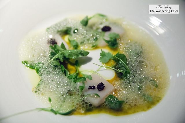 First course (Chef's Tasting menu) - Scallop, watercress, citrus, magic sauce, caviar
