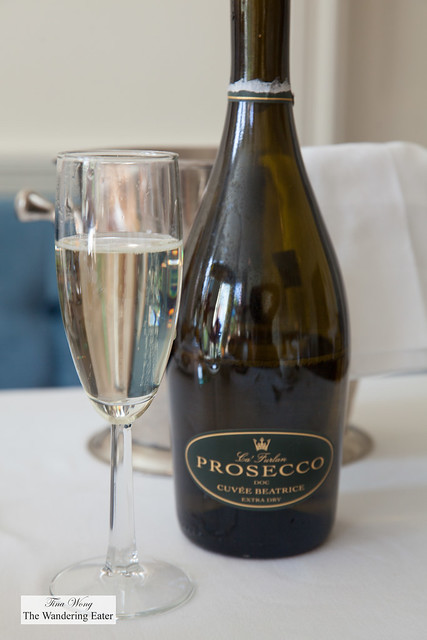Serving brut Prosecco for breakfast