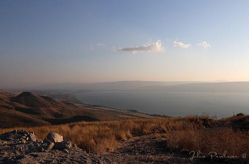 sunset summer sky lake grass clouds israel stones kinneret