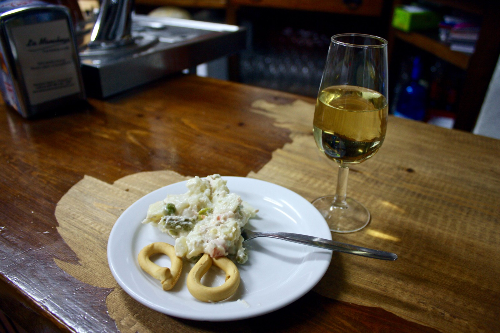 Sherry and tapa of Russian salad, Jaén, Spain