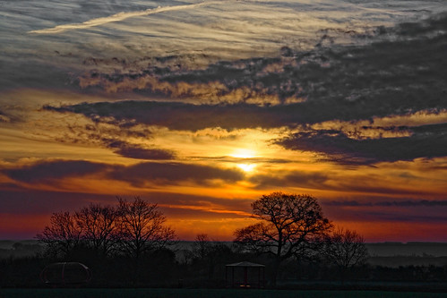 dawn sunrise sunup silhouette playingfields burtonuponstather clouds morning mist trees oranges northlincolnshire canon