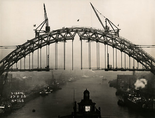 Flags fly above the Tyne Bridge in celebration
