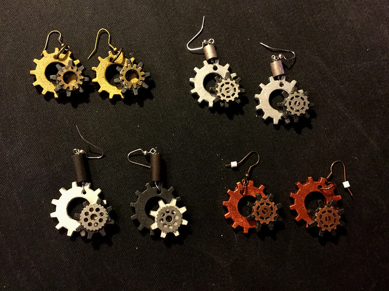 gear earrings - 4 colorways