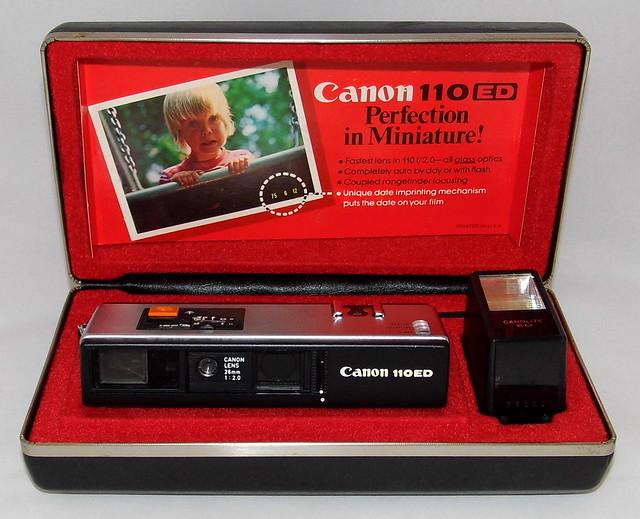 Vintage Canon 110 ED Pocket Rangefinder Camera, 26mm f2.0 Lens, Canolite ED Flash, Date Imprinting, Made In Japan, Circa 1975