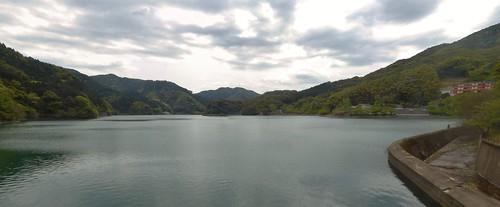 kawachi jpn reservoir dam cloud lake mountain hill tree forest reflection