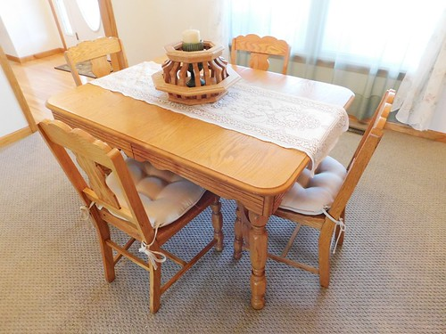 Antique 1940s oak kitchen table & chairs   by thornhill3