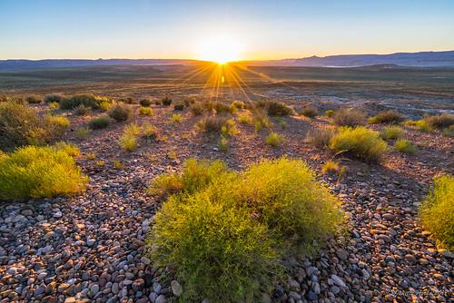 2017 arizona glencanyonnationalrecreationarea page sonya7r usa wahweaplookout sunset travel grass plants rocks sunburst sun windy